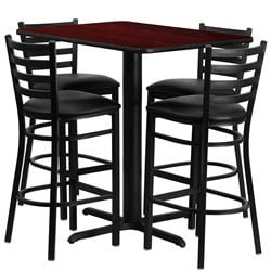 5 Piece Rectangular Table Set in Black and Mahogany