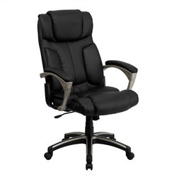 High Back Folding Leather Office Chair in Black