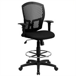 Mid Back Drafting Chair Arms in Black
