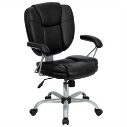 Mid Back Leather Task and Computer Office Chair in Black
