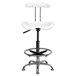 Drafting Chair Seat in White and Chrome