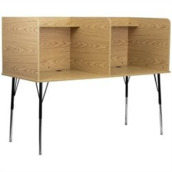 Double Wide Study Carrel with Adjustable Legs in Oak