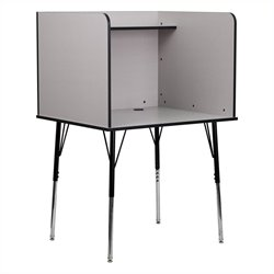 Carrel with Adjustable Legs in Nebula Grey
