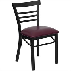 Black Ladder Back Dining Chair in Burgundy