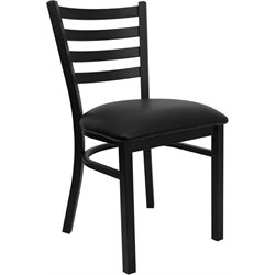 Ladder Back Metal Dining Chair in Black