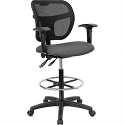 Mid-Back Mesh Drafting Chair in Gray