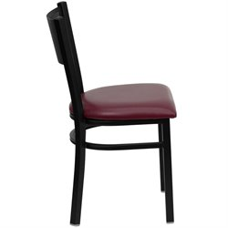 Metal Dining Chair in Burgundy Vinyl