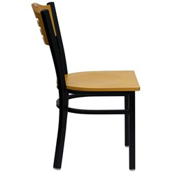 Black Slat Back Metal Restaurant Dining Chair
