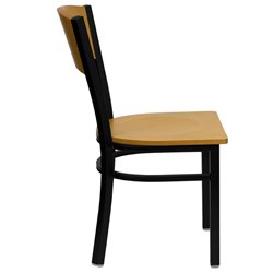 Black Circle Back Dining Chair in Natural