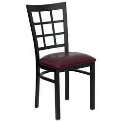 Black Window Back Dining Chair in Burgundy