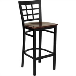Black Back Metal Bar Stool in Mahogany