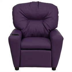 Contemporary Kids Recliner in Purple with Cup Holder