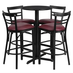 5 Piece Counter Height Dining Set in Black Burgundy