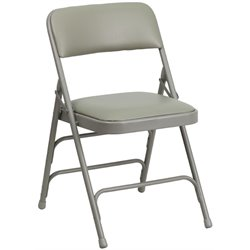 Upholstered Metal Folding Chair in Gray