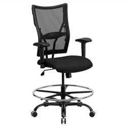 Flash Furniture Hercules Mesh Drafting Chair with Arms in Black