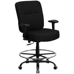 Flash Furniture Hercules Fabric Drafting Chair with Arms in Black