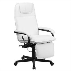 High Back Leather Reclining Office Chair in White