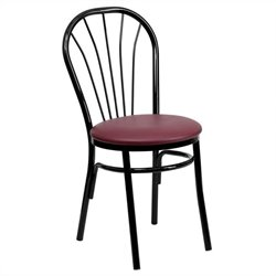 Metal Dining Chair in Black and Burgundy