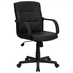 Mid Back Office Chair in Black with Arms