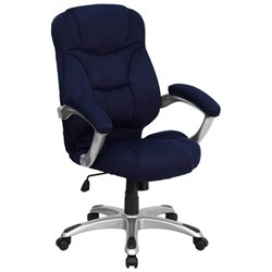 High Back Microfiber Upholstered Office Chair in Navy