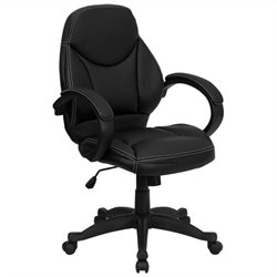 Mid-Back Leather Contemporary Office Chair in Black