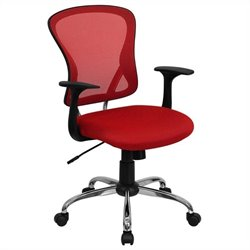 Mid Back Mesh Office Chair in Red