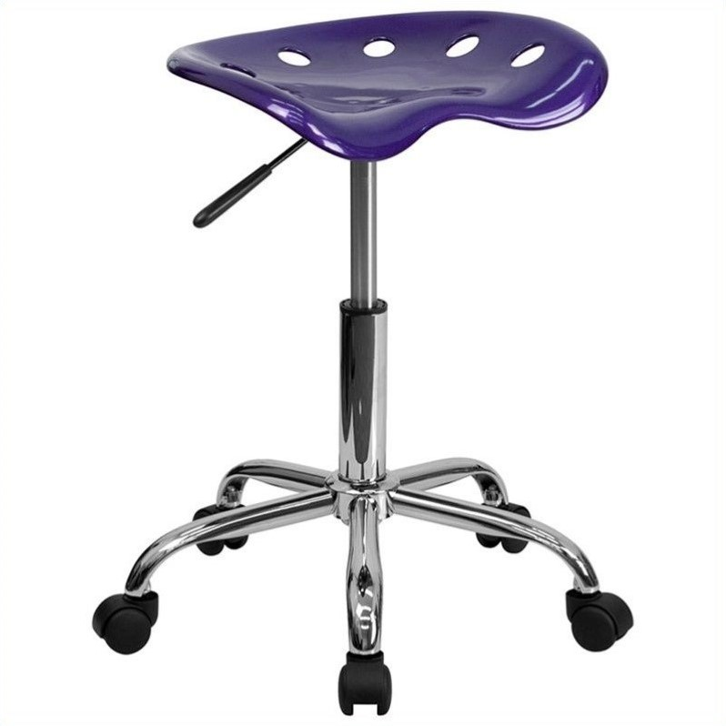 Chrome Adjustable Bar Stool in Violet