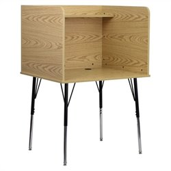 Carrel with Adjustable Legs and Top Shelf in Oak
