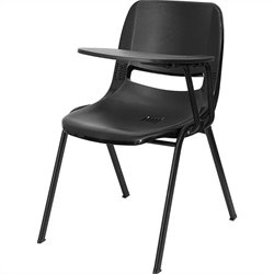 Ergonomic Shell Stacking Folding Chair in Black
