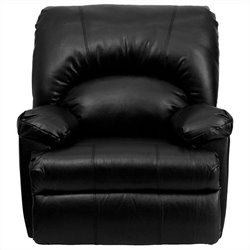 Contemporary Apache Black Leather Rocker Recliner