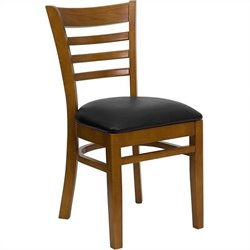 Ladder Back Dining Chair in Cherry and Black