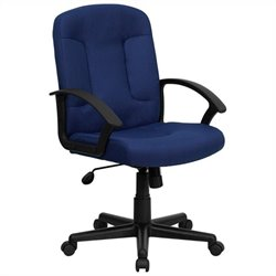 Mid Back Office Chair with Nylon Arms in Navy