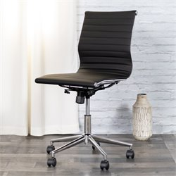 Armless Upholstered Office Chair in Black