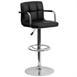Quilted Adjustable Bar Stool with Arms in Black