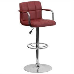 Quilted Adjustable Bar Stool with Arms in Burgundy