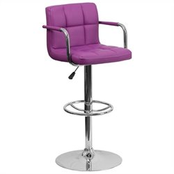 Quilted Adjustable Bar Stool with Arms in Purple