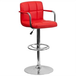 Quilted Adjustable Bar Stool with Arms in Red