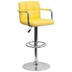 Quilted Adjustable Bar Stool with Arms in Yellow