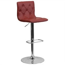 Tufted Adjustable Bar Stool in Burgundy