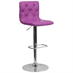 Tufted Adjustable Bar Stool in Purple
