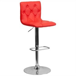 Tufted Adjustable Bar Stool in Red