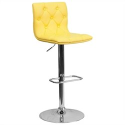 Tufted Adjustable Bar Stool in Yellow