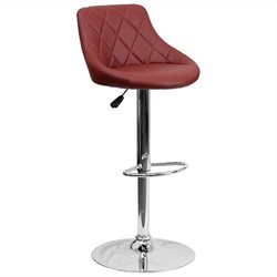 Adjustable Quilted Bucket Seat Bar Stool in Burgundy