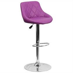 Adjustable Quilted Bucket Seat Bar Stool in Purple