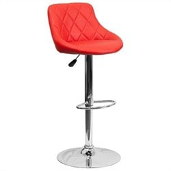 Adjustable Quilted Bucket Seat Bar Stool in Red