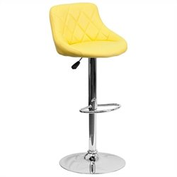 Adjustable Quilted Bucket Seat Bar Stool in Yellow