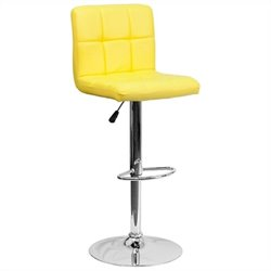Quilted Bar Stool in Yellow