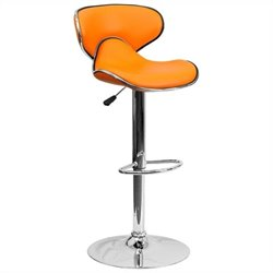 Mid Back Cozy Adjustable Bar Stool in Orange