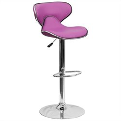 Mid Back Cozy Adjustable Bar Stool in Purple