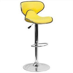 Mid Back Cozy Adjustable Bar Stool in Yellow
